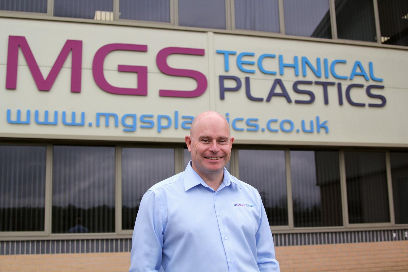 Mark Preston, Sales Director, standing in front of MGS Technical Plastics Ltd.